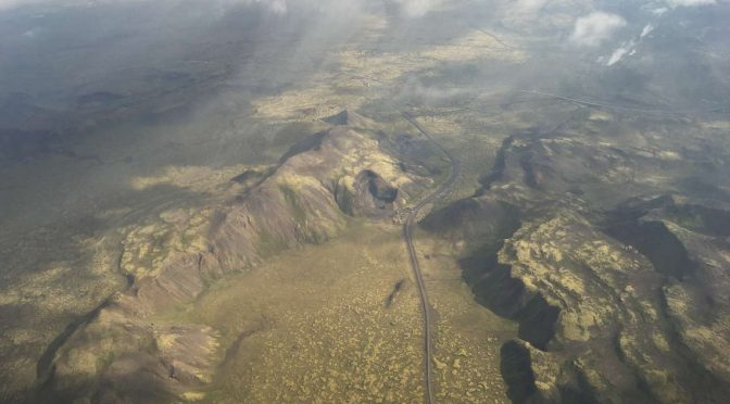 Iceland from above, mud pools and Iceland moss